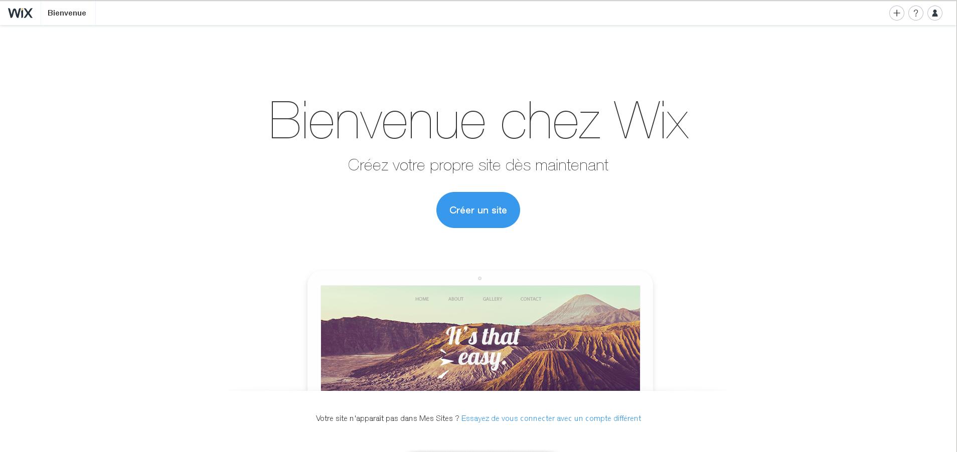 Aperçu du site du logiciel Wix